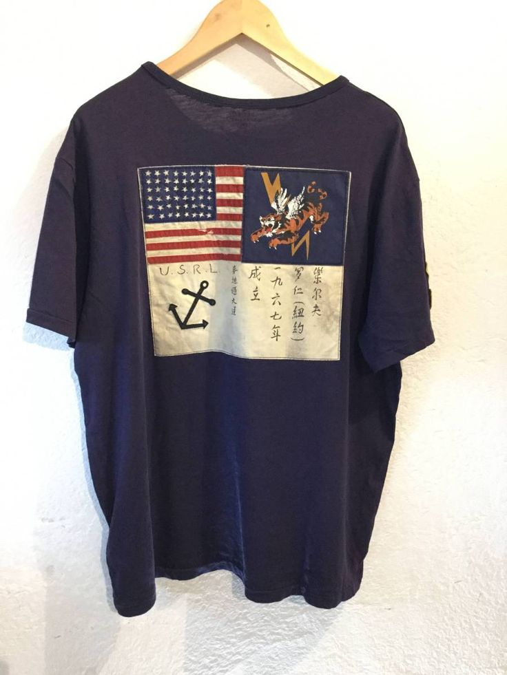 RalphLauren ラルフローレン 正規 半袖Tシャツ ワッペン バック和柄 メンズXL 185/104A 良品綺麗_画像2