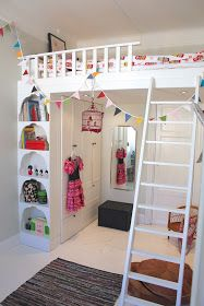 Small Bedroom Solution - Loft Bed with Storage - a cabinet used for closet space and display supports one side of a loft bed. This is creative use of space - via Frankie Was Right