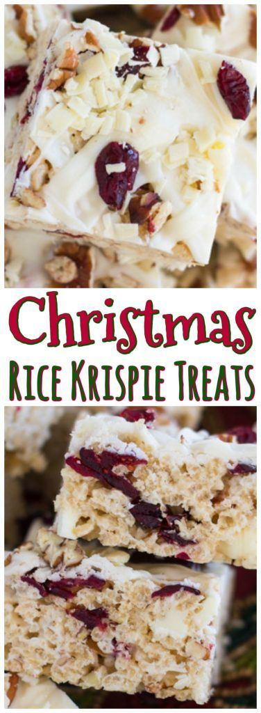 Christmas RKTs! With a classic combo of white chocolate, cranberries, and pecans, these White Chocolate Cranberry Pecan Rice Krispie Treats come together in minutes!