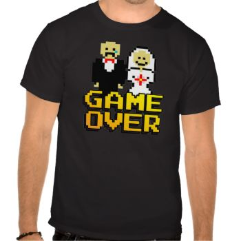 """Getting married? Know someone who is? Say """"Game Over"""" with this original, 80s 8-bit video game inspired design! #multiple #products #selected #game #over #marriage #game #over #wedding #bride #groom #bachelor #bachelorette #bachelor #party #nintendo #atari #arcade #funny #gag #gift #pixel #8-bit #gamer #gaming #nerd #geek #party #wedding #game #over #marriage #shower"""