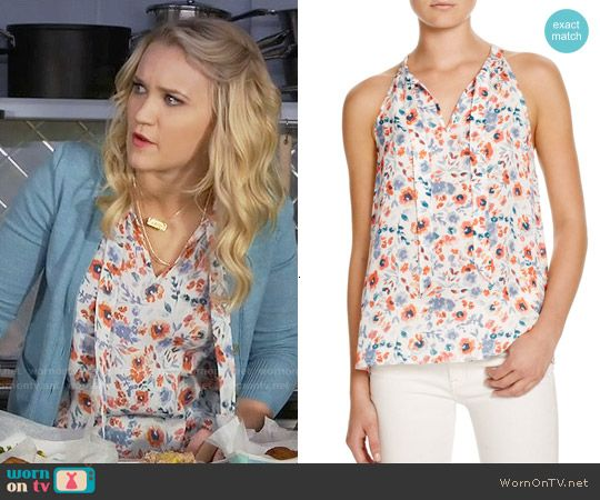 Gabi's floral tie-neck top on Young and Hungry.  Outfit Details: https://wornontv.net/56475/ #YoungandHungry