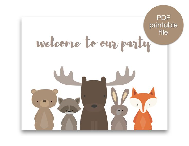 Woodland Party Welcome Sign   Woodland Baby Shower Welcome Sign   Woodland Birthday Banner - Script - PRINTABLE by SanFranciscoCrafts on Etsy https://www.etsy.com/listing/264642863/woodland-party-welcome-sign-woodland
