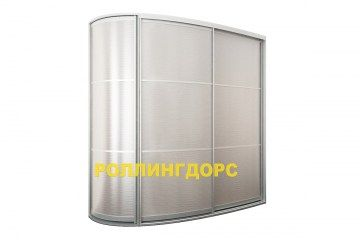 Радиусный шкаф-купе алюминиевого цвета. Отличная мебель для футуристических детских комнат.