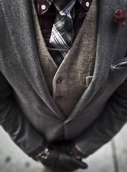Winter style - blazer, vest and tie.