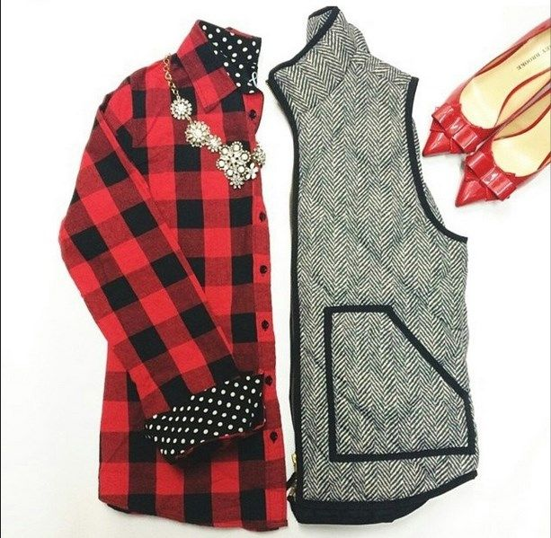 Oh I love this look for Fall! The Plaid! The Herringbone Puffer Vest! Cute wardrobe pieces! | $34.99 on Jane.com