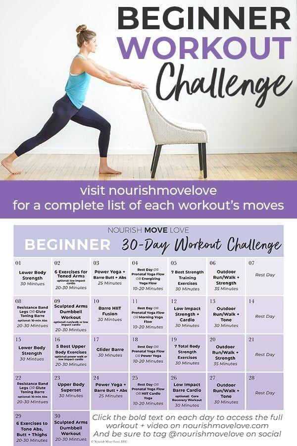 Beginner Workout Plan 30 Day Workout Calendar Nourish Move Love Workout Plan For Beginners Workout Calendar Beginner Workout