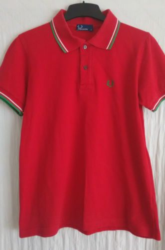 FRED-PERRY-mens-red-pique-polo-shirt-size-Small-VGC