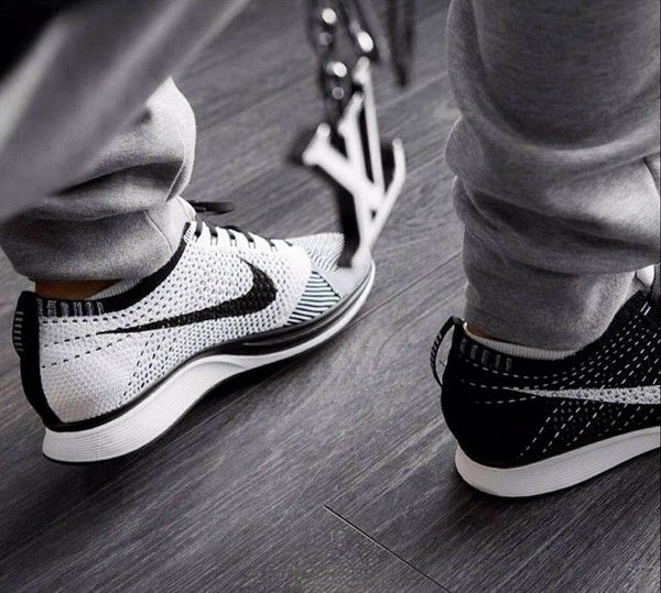 Shoes: black white nike flyknit racers