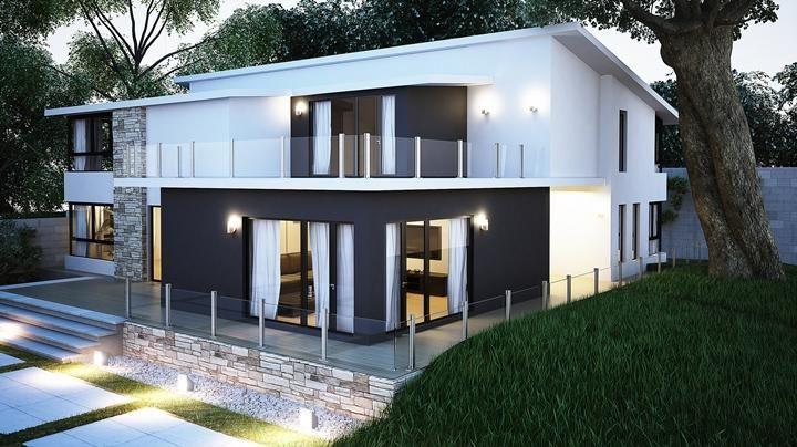 Girona donacasa 200m2 hormig n celular con trasdosado tejado inclinado espacios de - Casas hormigon celular ...