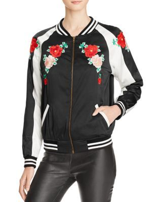 AQUA x Maddie & Tae Floral Embroidered Bomber Jacket - 100% Bloomingdale's Exclusive  | bloomingdales.com