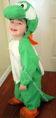 Homemade Yoshi Costume: I looked all over the internet and could not find any Yoshi costumes for my little boy to wear. We had decided to do a Mario Brothers theme for the whole