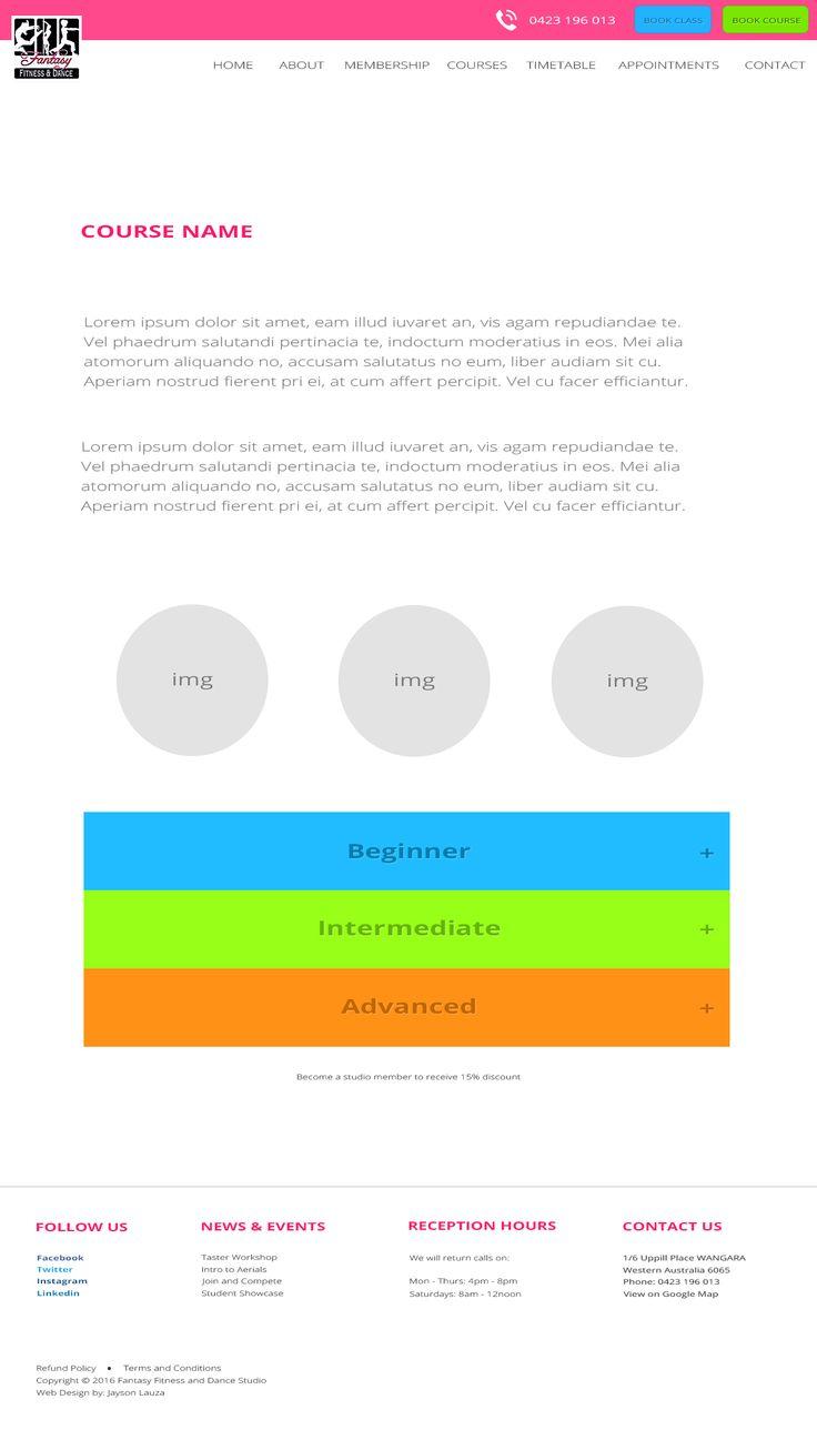 Course page  Desktop Layout