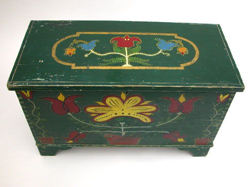 Somerset County, Pennsylvania Polychromatic Paint Decorated Blanket Chest  The front and top of this dynamic. Antique Painted FurniturePaint  FurnitureDutch ... - 107 Best Antique Painted Chests Images On Pinterest Painted Chest