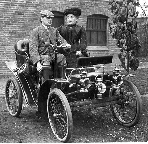 Dr Cyril Marson and his sister Miss Arabella Marson in an early motor car 1895-1905