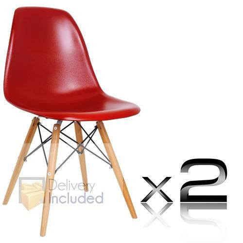 2 x Replica Eames Side Chair - Bamboo Red