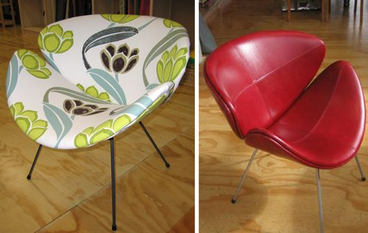 "Two options for the ""Lip Chair"" - red vinyl, or an abstract floral from Design Guild - Living Room, Wellington"