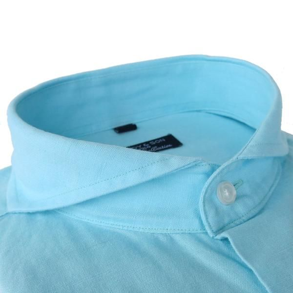Linen season is on! This linen and cotton blend is perfect for the hot days. Extreme Cutaway Collar  Barrel Cuff, angled cut Slim fit (Dandyfit™)  Turquoise fab