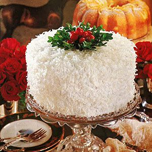A southern Christmas classic...coconut cake with lemon filling and fluffy frosting from SouthernLiving.com
