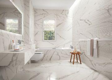come abbinare pavimenti e rivestimenti in bagno effetto marmo bianco - Cerca con Google
