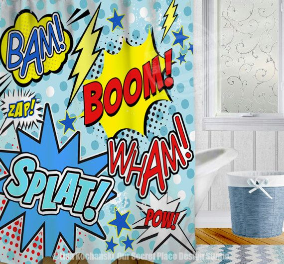 Superhero Shower Curtain Superhero Bathroom Decor Comic Book Shower Curtain  Childrens Shower Curtain Comic Bathroom Decor Comic Book Decor