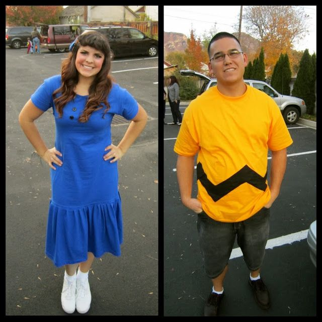 DIY Charlie Brown & Lucy Costumes. Lucy dress made of two XL t-shirts.