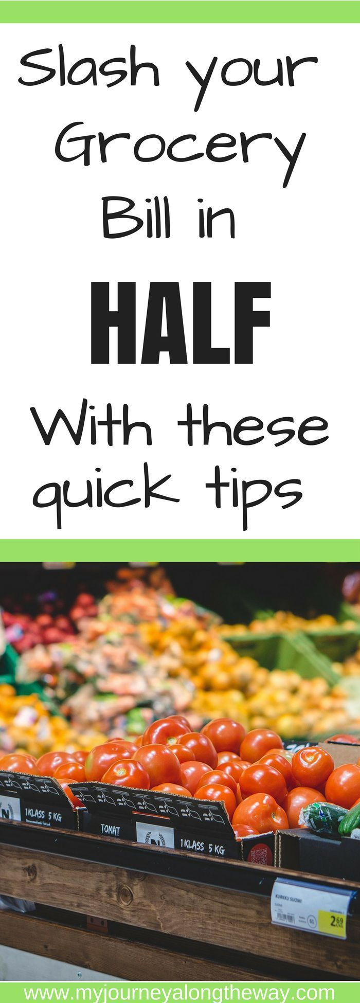 Slash your grocery bill in half with these quick tips. How to save even more money every time you visit the grocery store. Tips and trick to save money on groceries.