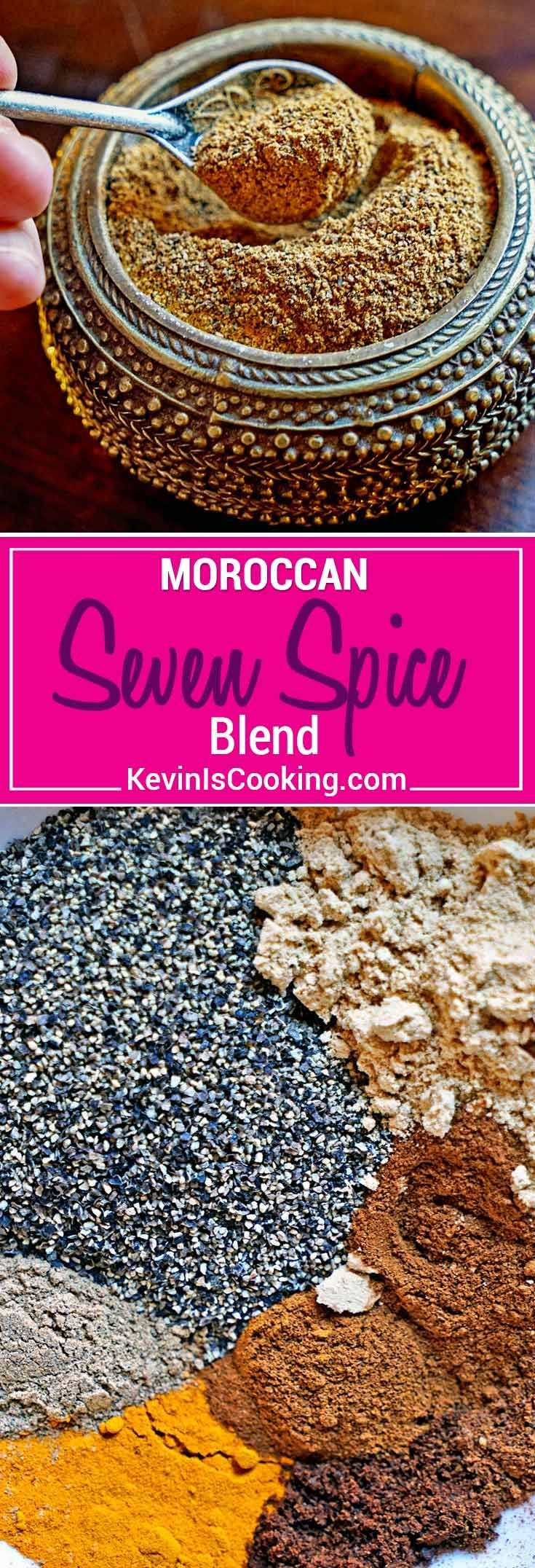 Moroccan Seven Spice Blend - a beautiful mixture of warm, ground spices that include black pepper, ginger, turmeric, cinnamon, cardamom, clove and nutmeg. An exotic and tasty blend for seasoning and dry rubs. via @keviniscooking