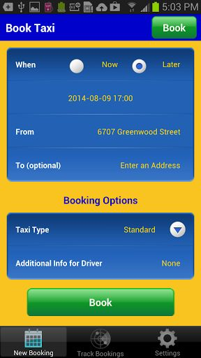 Order an Alaska Yellow Cab from Alaska Yellow Dispatch using your Android device – 24 hours a day, 365 days a year!! <p>Fast, convenient, and easy to use. <p>Use a map to select your pick-up location, and track the location of your taxi. <br>Receive notification alerts about the status of your booking, and when your taxi arrives. <p>TAXI BOOKING FEATURES: <br>• Request a taxi cab right now, or select a future date and time for pick-up. <br>• Don't know your location? – Send the taxi to your…