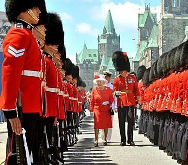 Great photo! HM The Queen inspecting the Honour Guard in Ottawa, Canada. Canada Day 2010