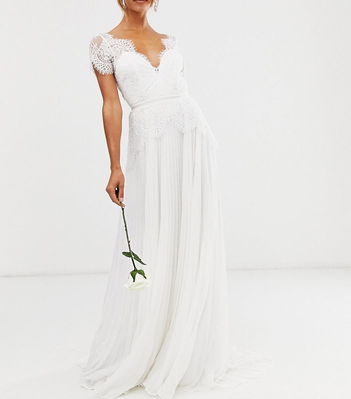Asos Edition Plunge Lace Wedding Dress With Pleated Skirt Pleated Wedding Dresses Asos Wedding Dress Wedding Dress Outfit