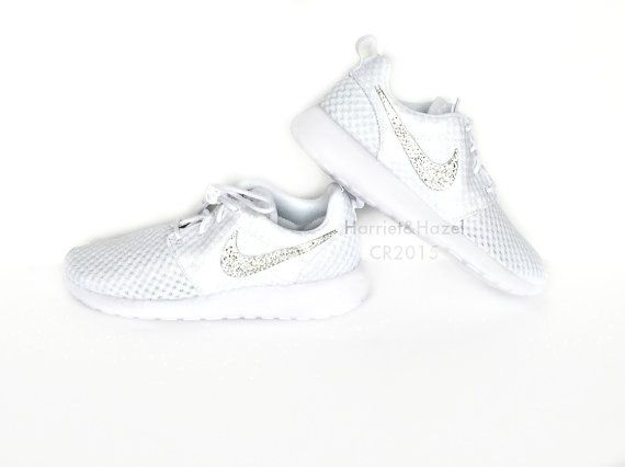 Awesome white Nike Roshe Runs with Swarovski crystals....perfect gift for  ALL the women in your life..or your self  ))  b4a2b4a367be