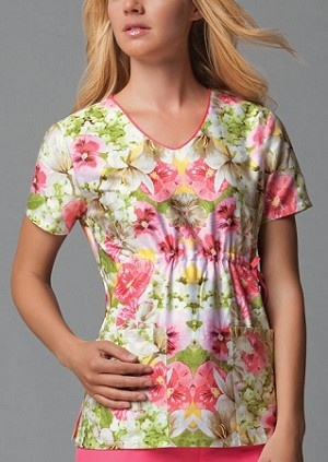 Runway 3747B V-Neck Scrub Top in Floral Fantasy    #fashion #floral #medical #workwear #spring #colors #nursing #healthcare #professional #scrubs