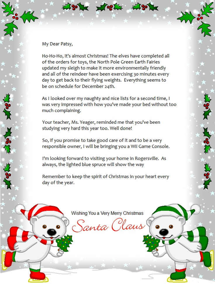FREE Printable Christmas Letters From Santa