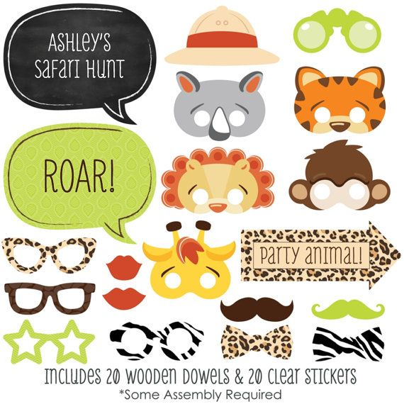 A fabulous photo booth has two things: a great backdrop and unique photo booth props. This set of Funfari - Safari Jungle photo booth props