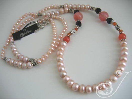 Julleen Pearl Jewellery Designs - Clara Pearl Cherry Quartz Deco Necklace