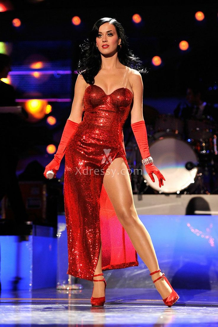 Katy Perry Sexy Red Sequin Strapless Sweetheart Concert Celebrity Slit Prom Dress
