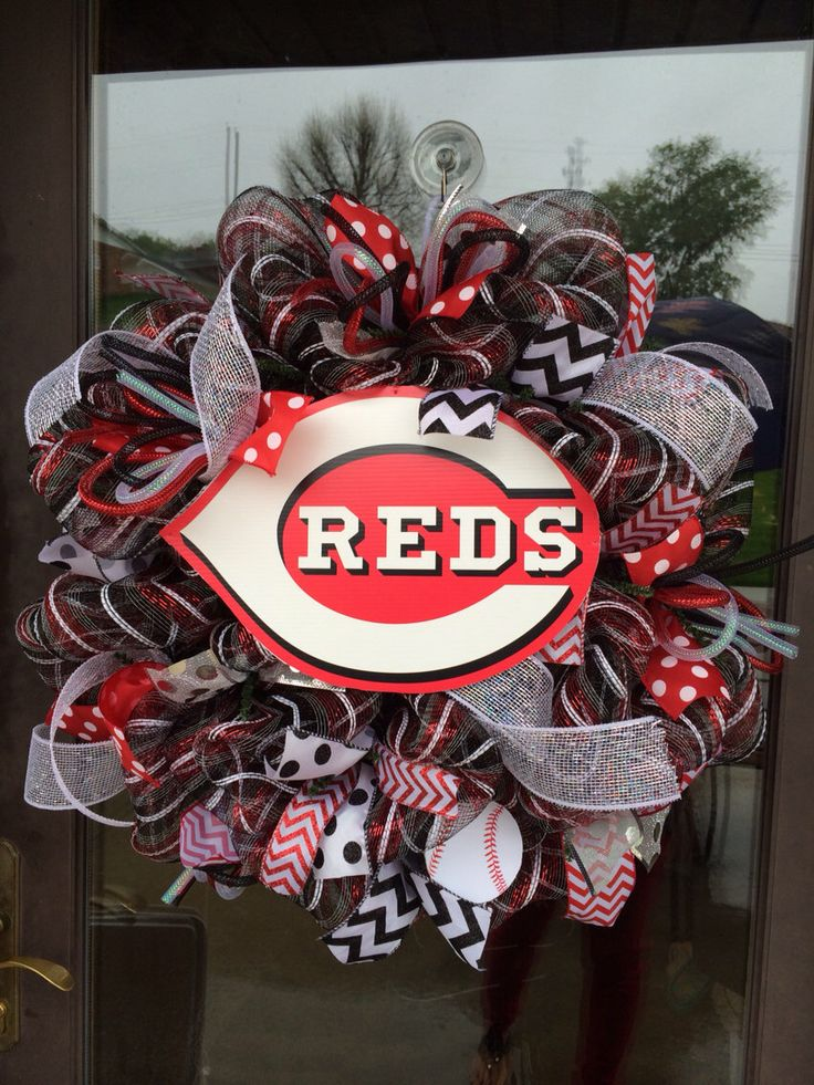 Cincinnati Reds Baseball deco mesh wreath by ShelbyColemanCrafts on Etsy https://www.etsy.com/listing/188047070/cincinnati-reds-baseball-deco-mesh