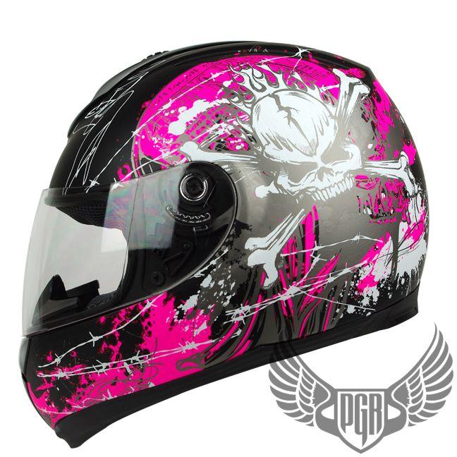 L XL or XXL Matte Black Magenta Pink Skull PEAK Full Face Motorcycle DOT Helmet   eBay