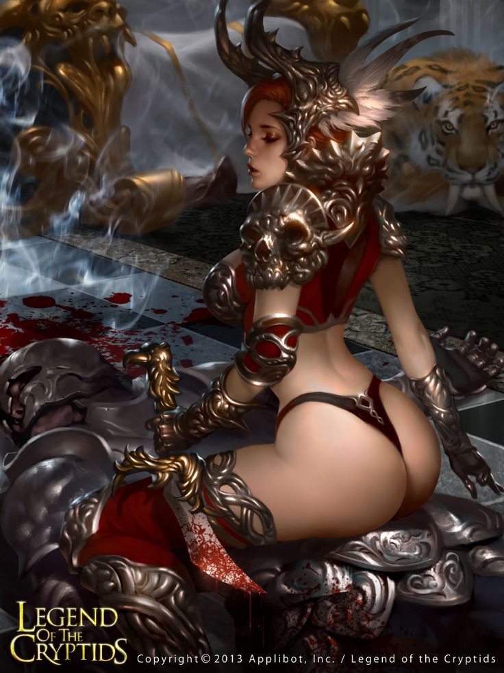 Artist: Lius Lasahido aka lasahido - Title: Legend Of The Cryptids - Card: Arena Girl Jaspearl (Playful)
