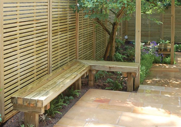 Venetian Fence Panels And Timber Bench Seat Bench D