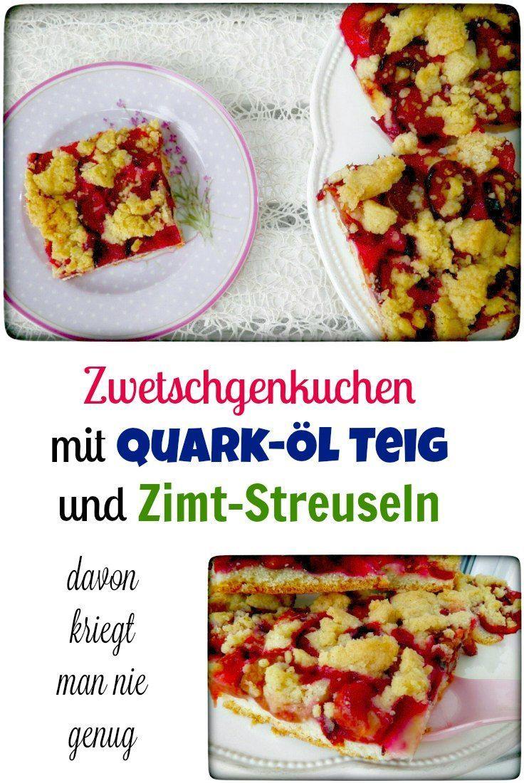 Zwetschgenkuchen mit Quark-Öl Teig und Zimt-Streuseln: allein bei dem Namen, läuft mir das Wasser im Mund zusammen. Schmeckt mit Zwetschgen / Pflaumen als auch mit anderem Obst. Im Thermomix ganz einfach herzustellen.