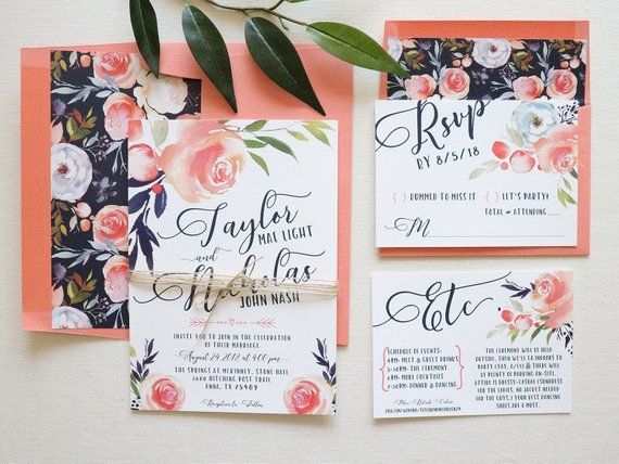Coral Suite Flowers Calligraphy Font Living Coral Coral Floral Watercolor Save the Date