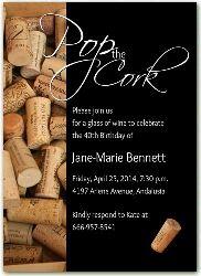 2477  Birthday Invitations Wine Theme Party Pop the Cork