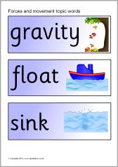 Here's a set of word wall cards on forces and motion.