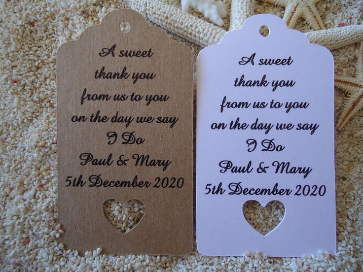 10 Kraft Gift Tags Wedding Favour Bomboniere Personalised A Sweet Thank You