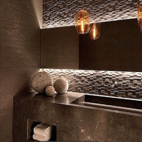 lavabo marrom cuba moldada marmore papel parede palha