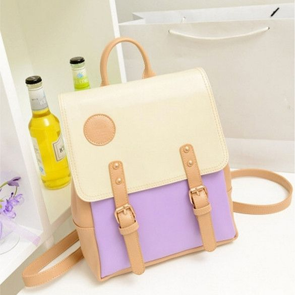 New Womens Retro College Sweet Shoulder Bag Synthetic Leather Backpack