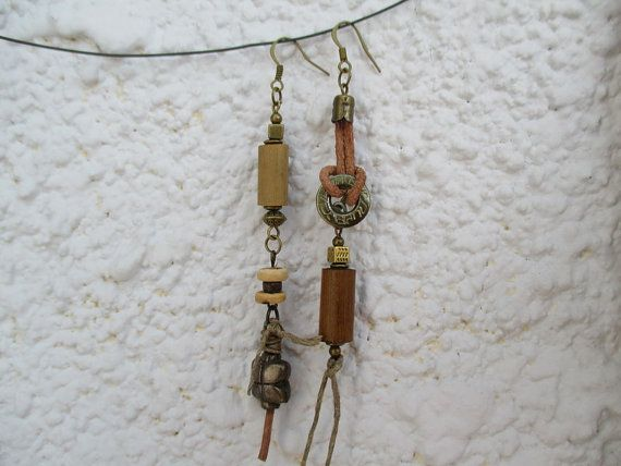Asymmetrical Dangle Earrings, Tribal Earrings, Mixed Media Earrings, Assemblage…