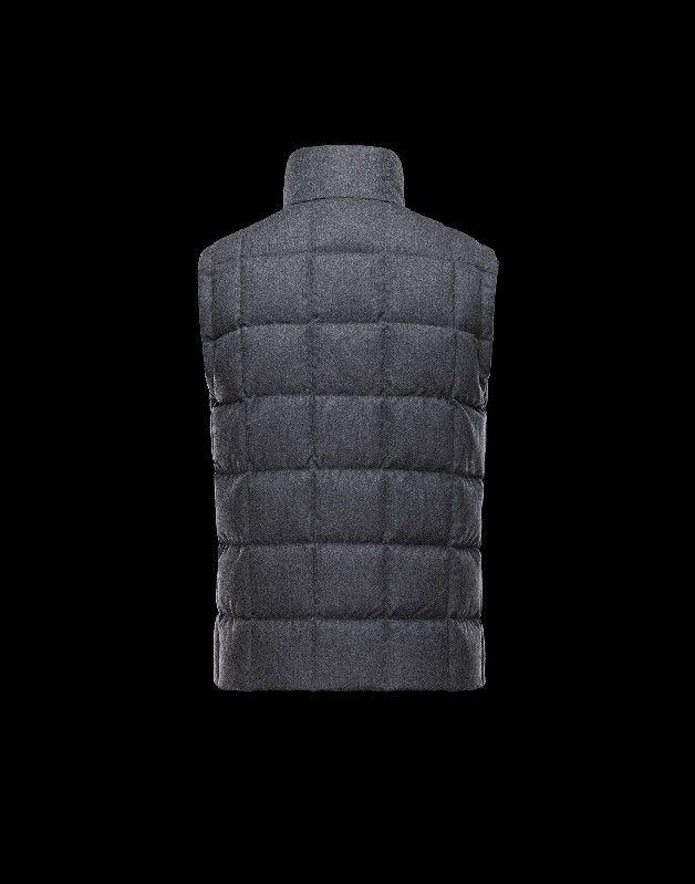Moncler Herren TENAY Weste Granitgrau Wolle