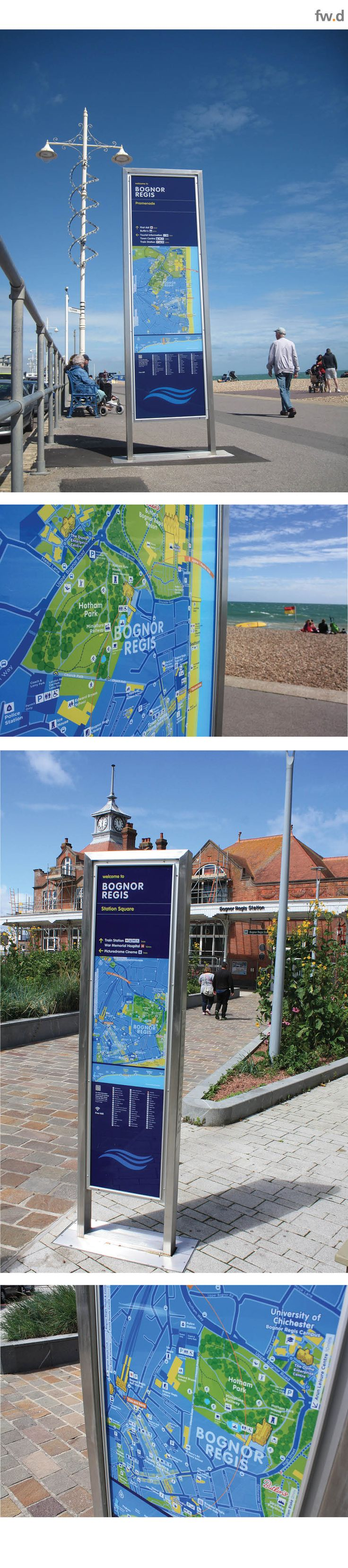 fwdesign were commissioned to deliver a new pedestrian wayfinding system for Bognor Regis that promoted connectivity across the town centre, the seafront and strengthened pedestrian links between Butlins and the town centre. Our 'frank' sign system was selected for his contemporary design aesthetic, material specifications and resulting durability for longevity in the demanding Coastal environment.